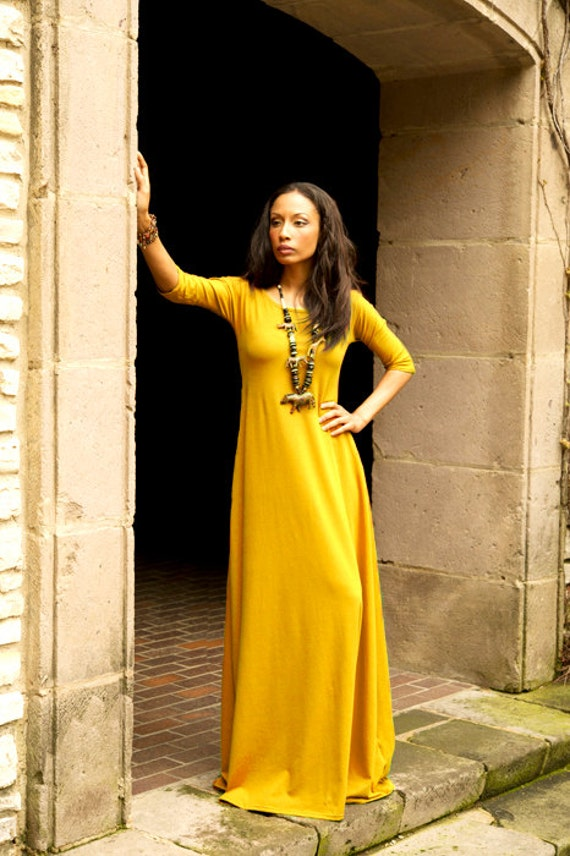 Golden Yellow Maxi Dress with 3/4 Sleeves