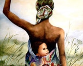 mother and child in field art print - PrintIllustrations