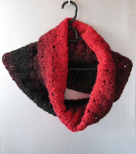 Red Black Scarf Infinity Cowl Wrap Hand knit, Acrylic, Wool, Alpaca