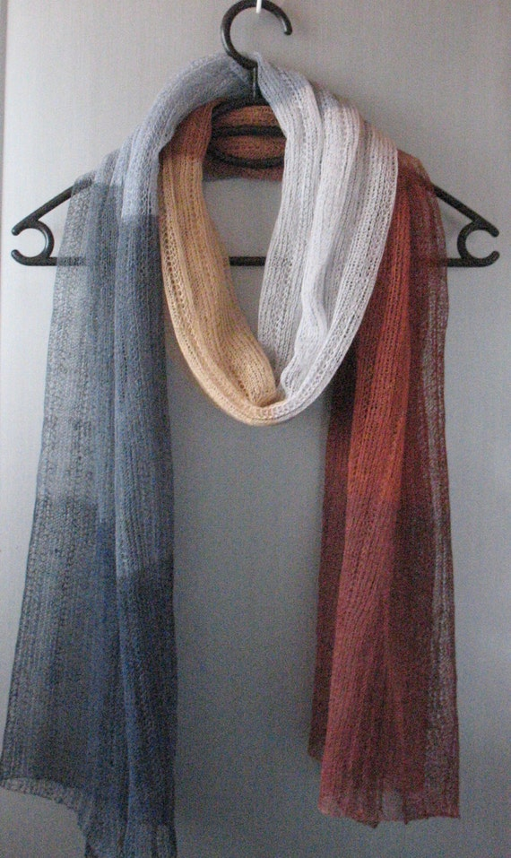 Linen Scarf Shawl Wrap Stole Beige Brown Gray White Multicolored, Light, Transparent. . .
