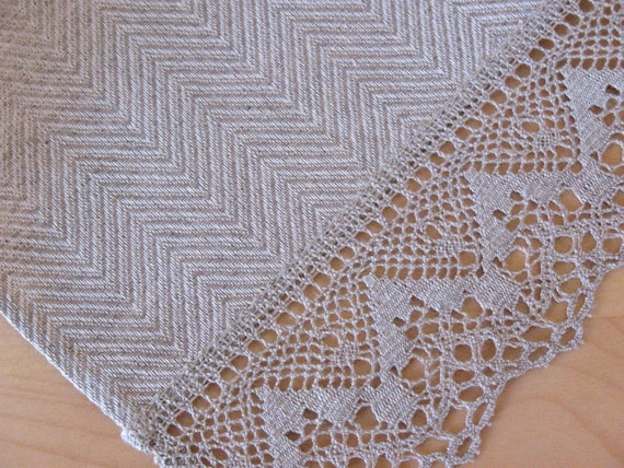 "Linen Table Runner Tablecloth Natural White Gray Striped Linen Lace 65"" x 19.1"""