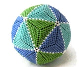 Icosahedron Paperweight - Beaded Ball, seed beads, beadwoven triangles, stress toy, beadwork sculpture