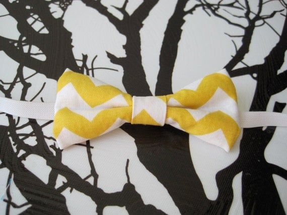 Bowtie in Newborn, Infant/Toddler or Youth sizing - Bright yellow and white chevron stripe - photo prop, birthday outfit, weddings and more