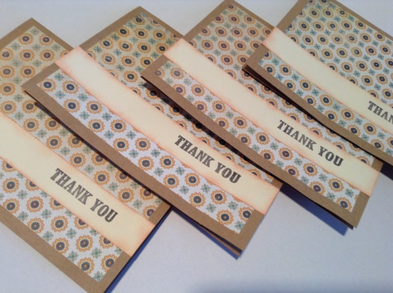 Set of four thank you note cards, stationary, patterned, thank you card set