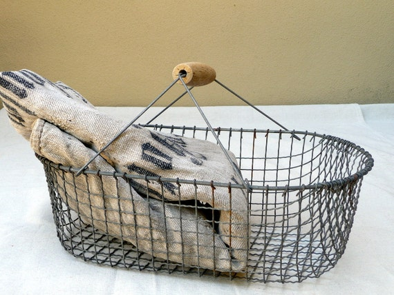 Wire Basket French Vintage French Cottage Chic Wood Handle