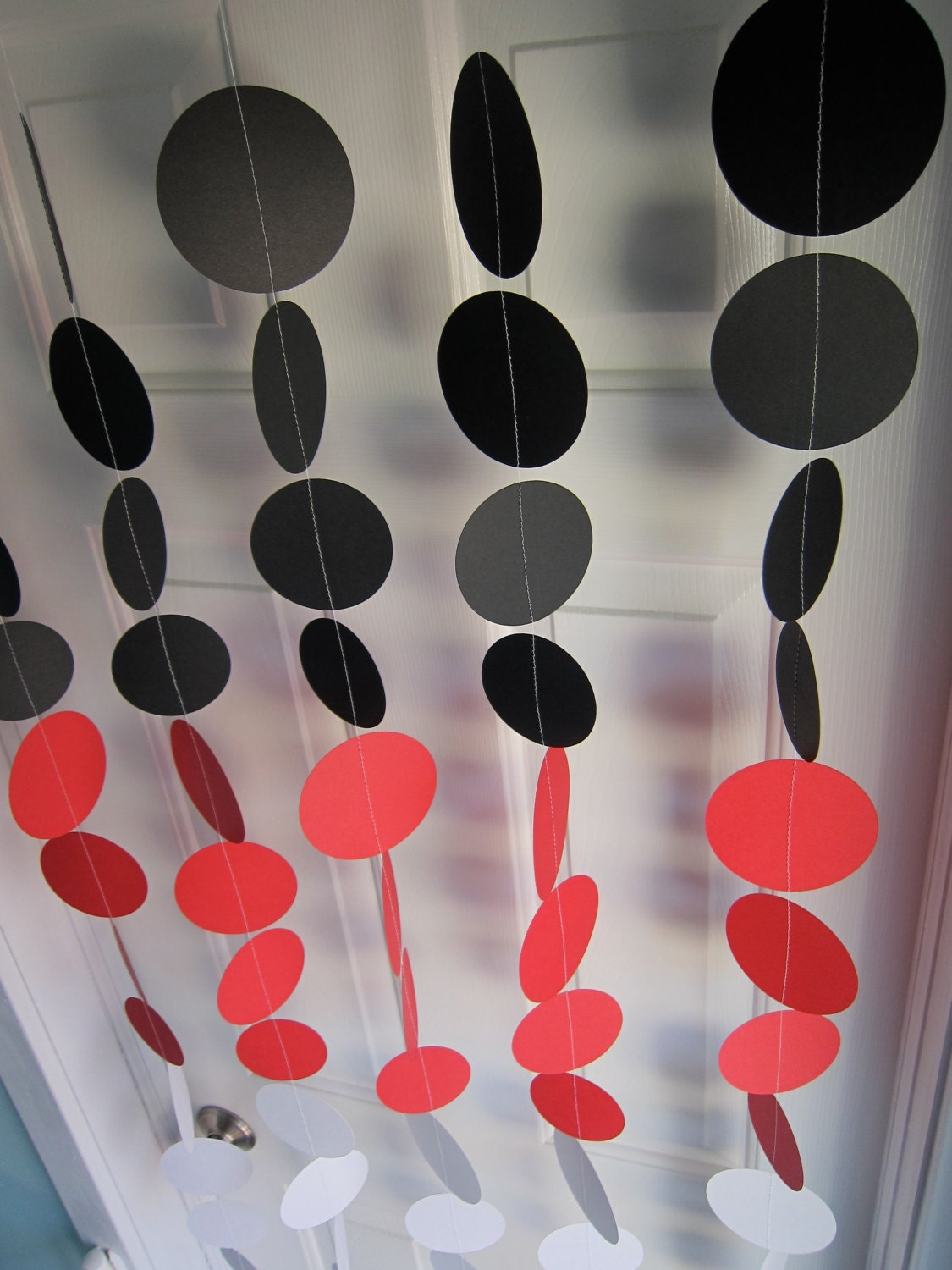 Paper Garland Decorations Red Black & White by SuzyIsAnArtist