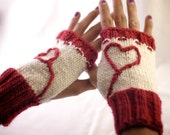 Red & White Fingerless Mittens with Heart Design