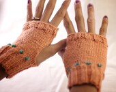 Peach Silk Fingerless Mittens with Turquoise Beads