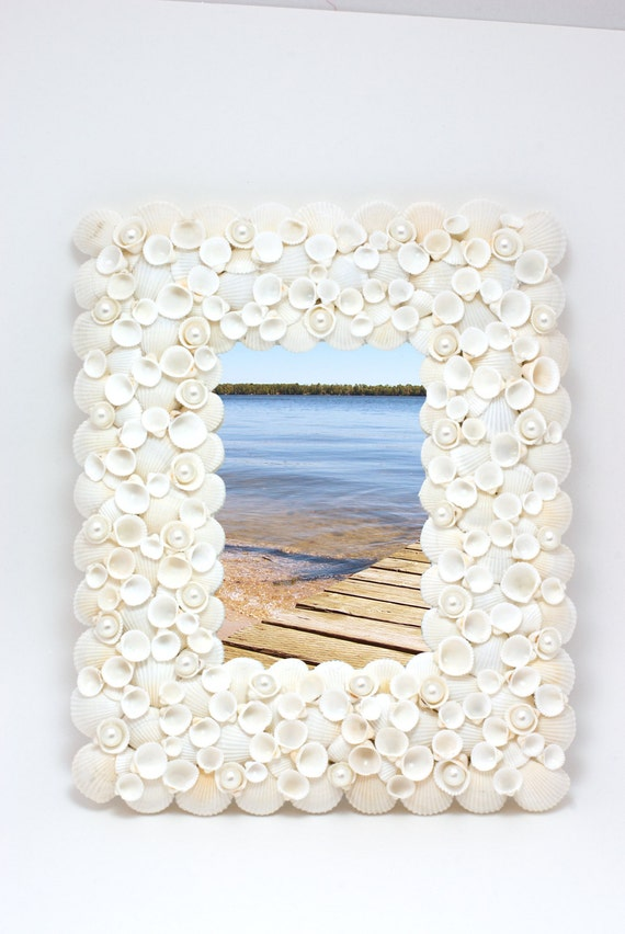 Beach Decor -  Large White Shell Mirror and  Picture Frame