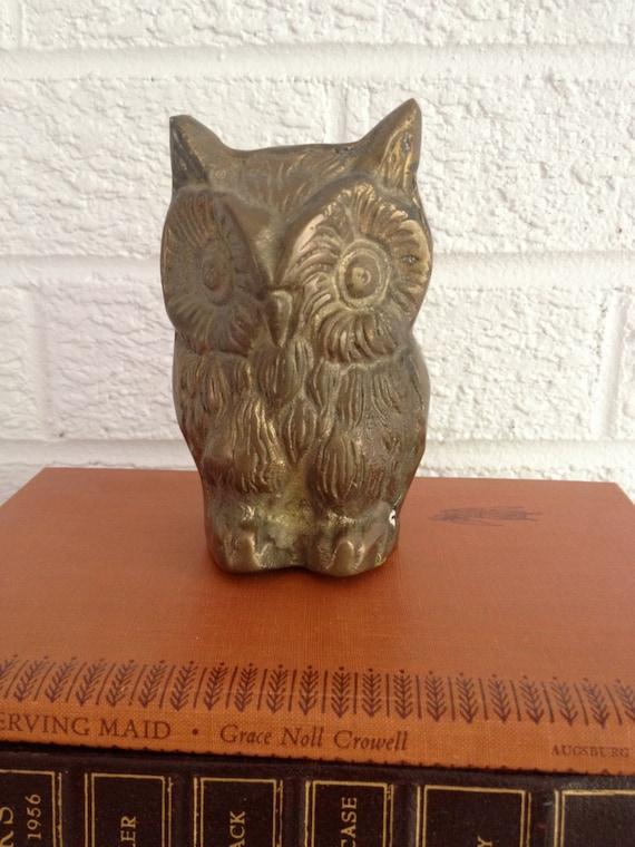 Vintage Brass Owl Figure