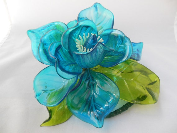 Blue Plastic Flower Aqua with Green Leaves Joseph Markovits New York City Hong Kong