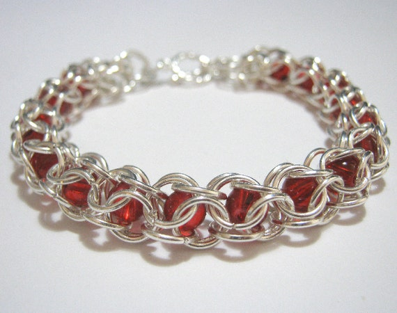 Red Riding Bracelet Beaded Chainmaille