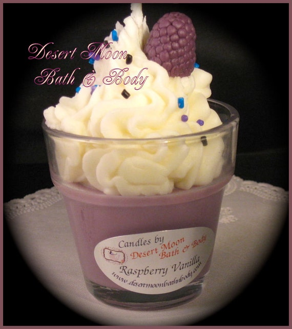 Raspberry Vanilla Cupcake Candles with Natural Soy Wax Blend