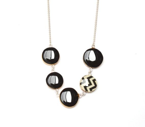 black chevron statement necklace bubble necklace geometric jewelry spring jewelry eco friendly jewelry starlightwoods