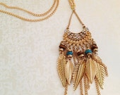 Dream-Catcher Necklace. Feather Jewelry. Wood Beads. Turquoise. Brown. Rhinestones. Natural. Boho. Gold Tone Chain. Summer. Unique. Gifts. - MintMarbles