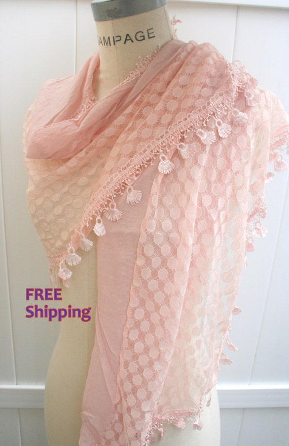 Pink Lace Scarf   Women Shawls Scarfs FREE SHIPPING Trendy Spring  Fashion  Scarfs  - By PIYOYO