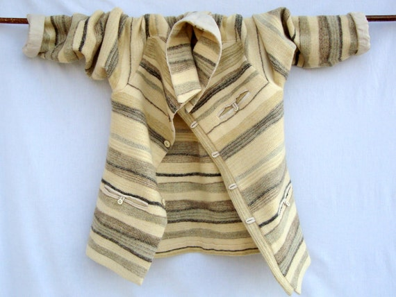 Handwoven  Men s Shirt Jacket OOAK Off -White,Beige ,Brown