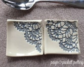Square Ceramic Spoon Rest Pair - Ivory and Lace Stoneware Pottery - paigepuckettpottery