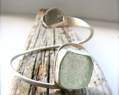 Sea Foam Green and White Sea Glass Sterling Silver Wrap Bangle Bracelet - FeliciaGraceDesigns