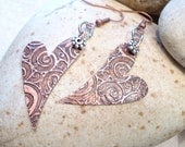 Etched Copper Swirly Earrings, Mixed Metals, Rustic Hearts - FromEarToEar