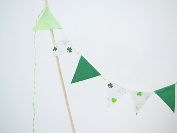 "Fabric Cake Bunting Decoration - Cake Topper - Wedding, Birthday Party, Shower Decor ""Lucky Charm"" St. Patricks Day green, white, clovers"