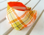 WIDE FABRIC HEADBAND - Orange Green White Plaid Retro Hairband  - jerseymaid