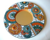Orange & Teal Round Mosaic Mirror - Original Art - TheMosartStudio
