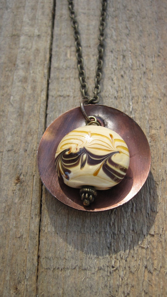 Tribal Copper Necklace- Copper bowl with hand painted bead