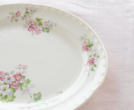 Vintage Cottage Style Floral and Cream Platter