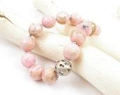 Pastel pink bracelet , sterling silver bracelet , romantic jewelry , birthstone jewelry