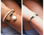 Emerald Green and Rutilated Quartz Bracelet  - camilaestrella
