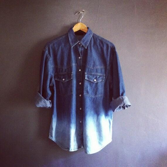 Vintage Dip Dye Hem Denim Shirt Dark Indigo Blue UK12 US 8