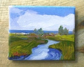 "Coastal  Contemporary , OCEAN , Salt Marsh Landscape Painting Blues Original art oil on 4""X5""  canvas reflections of my life in Maine"