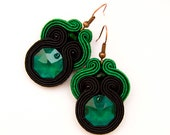 Emerald green pantone earrings - bold and embroidered - ready to ship - MANUfakturamaanuela