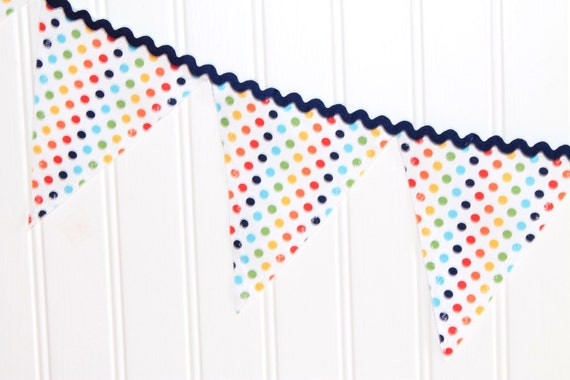 Primary Dot Fabric Pennant Banner