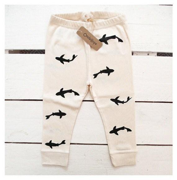 Sharks - handprinted organic baby leggings