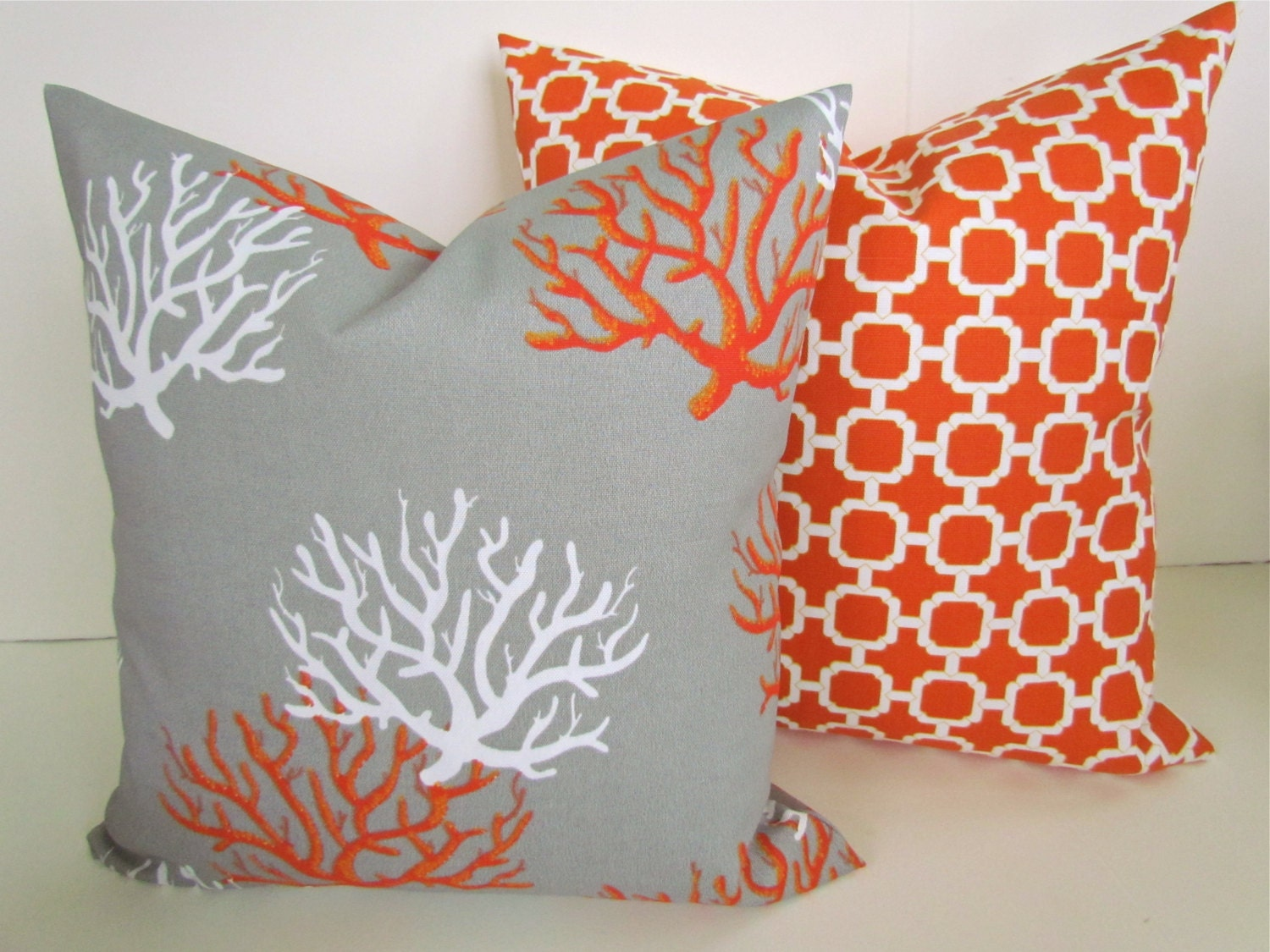 throw pillows set of 2 16x16 grey orange by sayitwithpillows. Black Bedroom Furniture Sets. Home Design Ideas