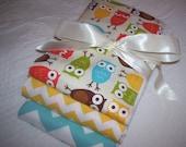 "Cloth Diaper Baby  Burp Cloth Set of Three (3) -Ann Kelle's ""Bermuda Owls"" Urban Zoology and Riley Blake's Chevron in Yellow and Aqua"