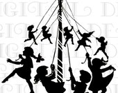 Wonderful Silhouette MAY Day Vintage Illustration. Dancing Around Maypole. Digital  Download. Vintage Easter Print. - DandDDigitalDelights
