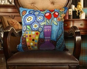 "VELVET PILLOW COVER Flower Pots 18""x18"" Folk Art Abstract Primitive Colorful Karla Gerard"