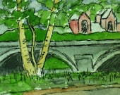 ACEO Watercolor Painting. Memorial Drive, Cambridge, Mass. Charles River. Artist Trading Card. Original Art by Kathleen Daughan