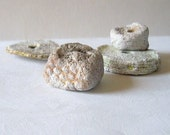 Artisan 4 piece set of beads handmade from mass of stone, stained,  shabby chic OOAK - boele
