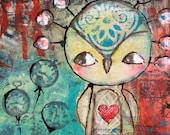 Cute 'Romeo' owl painting - TandiArt
