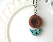 Needle Felted Nest with Bird necklace - MADE to ORDER - Woodland inspired jewelry - Choose a color - Gift for Mom, Wife, Girlfriend - ThimbleWoods