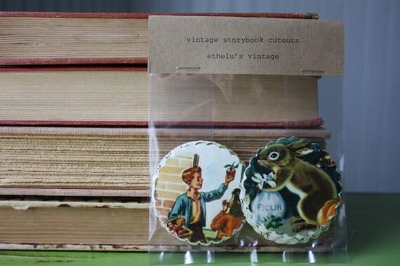 50 vintage storybook scalloped circle cutouts