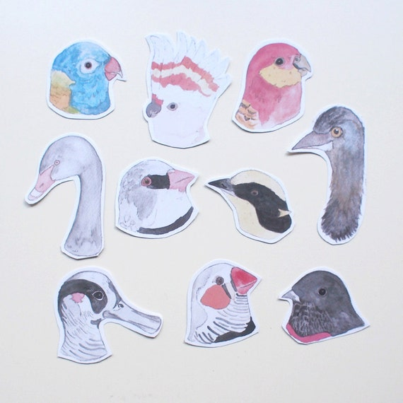 Set of 10 Australian Bird Stickers