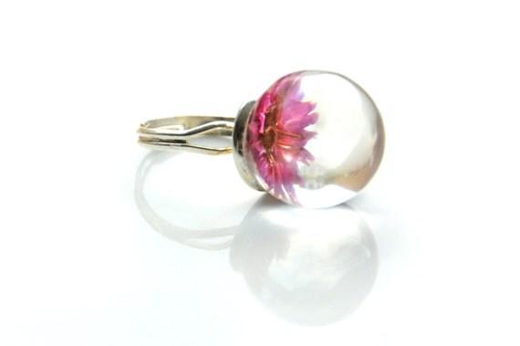 Roze bloem Ring - Hars Ring - Gedroogde Bloem Ring - Gedroogde bloemen - Hars sieraden - Echt bloemen sieraden - Natuur juwelen