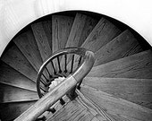Black And White Photography - Wooden Staircase Fine Art Photograph - Winter Park Florida 5x7 - JudithKimberPhoto