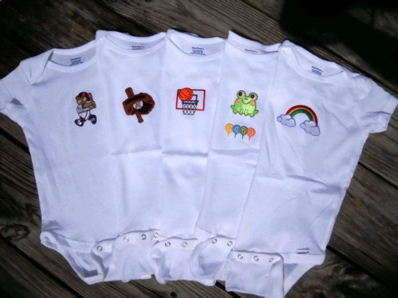 Baby Bodysuit Onesies with Different Applique Size 6 to 9 Months - Rainbow, Frog, Basketball Hoop, Baseball Bear and Baseball Glows