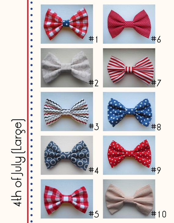 Patriotic Fourth of July Assorted Handmade Hair Bow Variety - Large (one)
